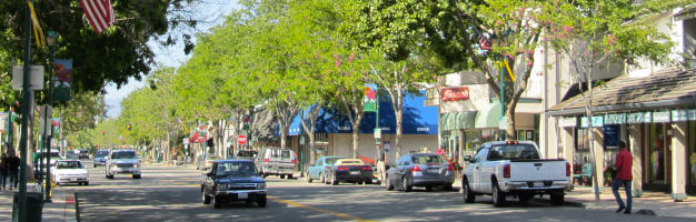 Main Street on a sunny afternoon in beautiful downtown Pleasanton, CA